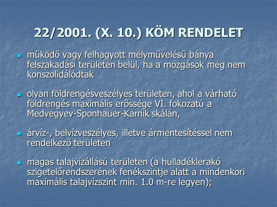 22/2001. (X. 10.) KÖM RENDELET működő vagy felhagyott mélyművelésű bánya felszakadási területén belül, ha a mozgások még nem konszolidálódtak működő v