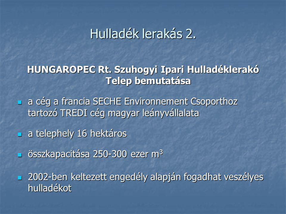 Hulladék lerakás 2. HUNGAROPEC Rt. Szuhogyi Ipari Hulladéklerakó Telep bemutatása a cég a francia SECHE Environnement Csoporthoz tartozó TREDI cég mag