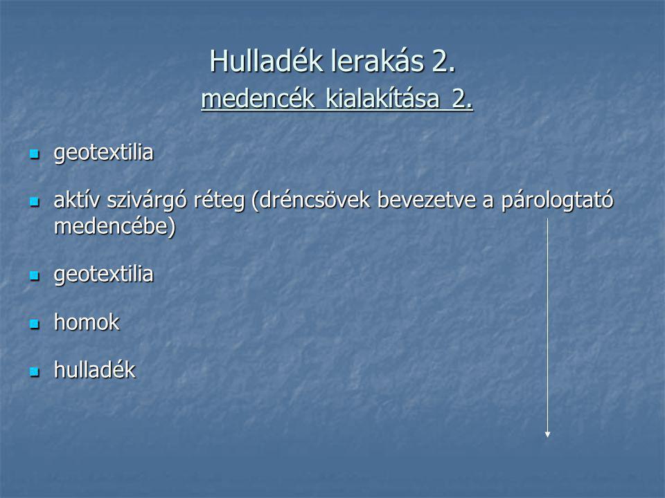 Hulladék lerakás 2. medencék kialakítása 2. geotextilia geotextilia aktív szivárgó réteg (dréncsövek bevezetve a párologtató medencébe) aktív szivárgó