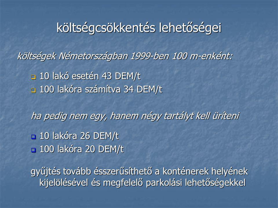 költségcsökkentés lehetőségei költségek Németországban 1999-ben 100 m-enként:  10 lakó esetén 43 DEM/t  100 lakóra számítva 34 DEM/t ha pedig nem eg