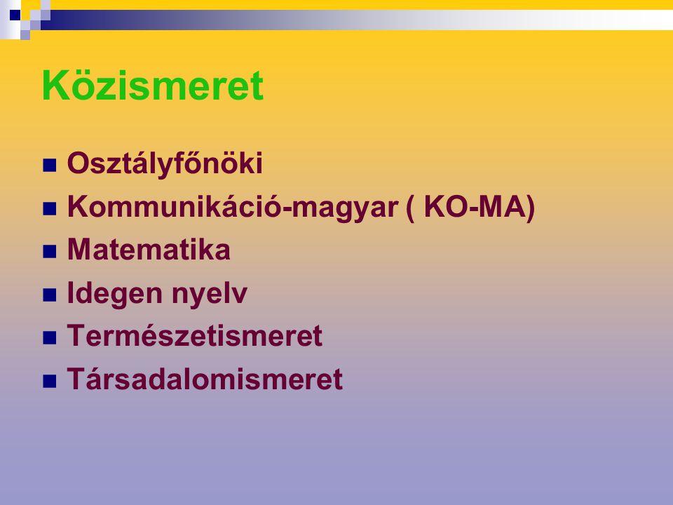 Közismeret Osztályfőnöki Kommunikáció-magyar ( KO-MA) Matematika Idegen nyelv Természetismeret Társadalomismeret