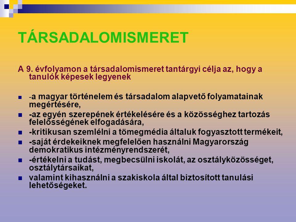 TÁRSADALOMISMERET A 9.