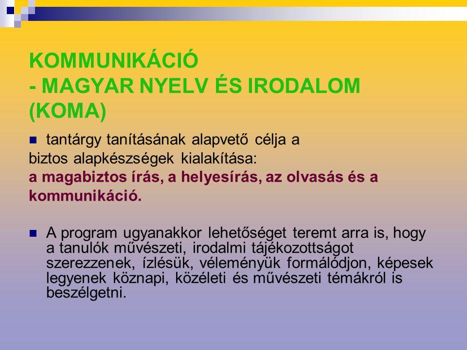 KOMMUNIKÁCIÓ - MAGYAR NYELV ÉS IRODALOM (KOMA) tantárgy tanításának alapvető célja a biztos alapkészségek kialakítása: a magabiztos írás, a helyesírás, az olvasás és a kommunikáció.