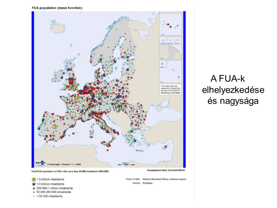 A FUA-k elhelyezkedése és nagysága