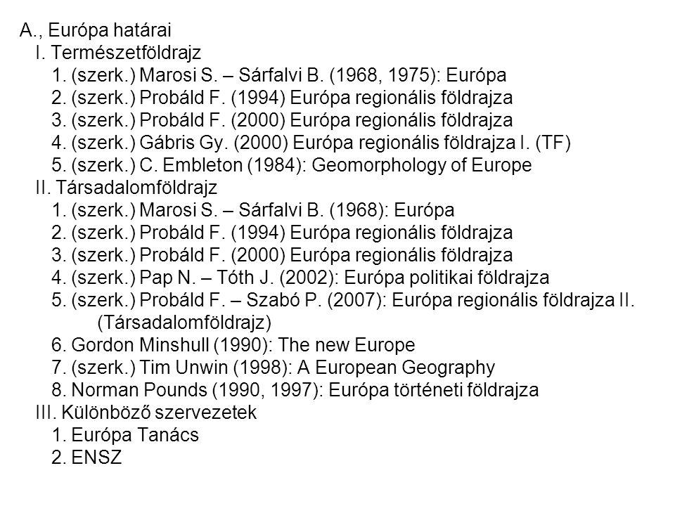 A., Európa határai I. Természetföldrajz 1. (szerk.) Marosi S. – Sárfalvi B. (1968, 1975): Európa 2. (szerk.) Probáld F. (1994) Európa regionális földr