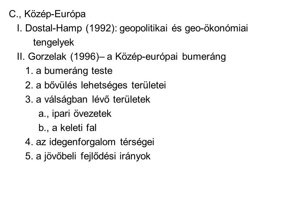 C., Közép-Európa I. Dostal-Hamp (1992): geopolitikai és geo-ökonómiai tengelyek II. Gorzelak (1996)– a Közép-európai bumeráng 1. a bumeráng teste 2. a