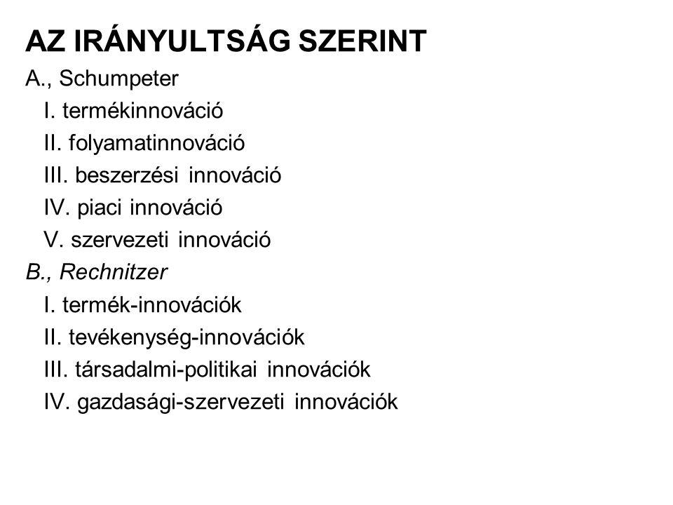 AZ IRÁNYULTSÁG SZERINT A., Schumpeter I. termékinnováció II. folyamatinnováció III. beszerzési innováció IV. piaci innováció V. szervezeti innováció B