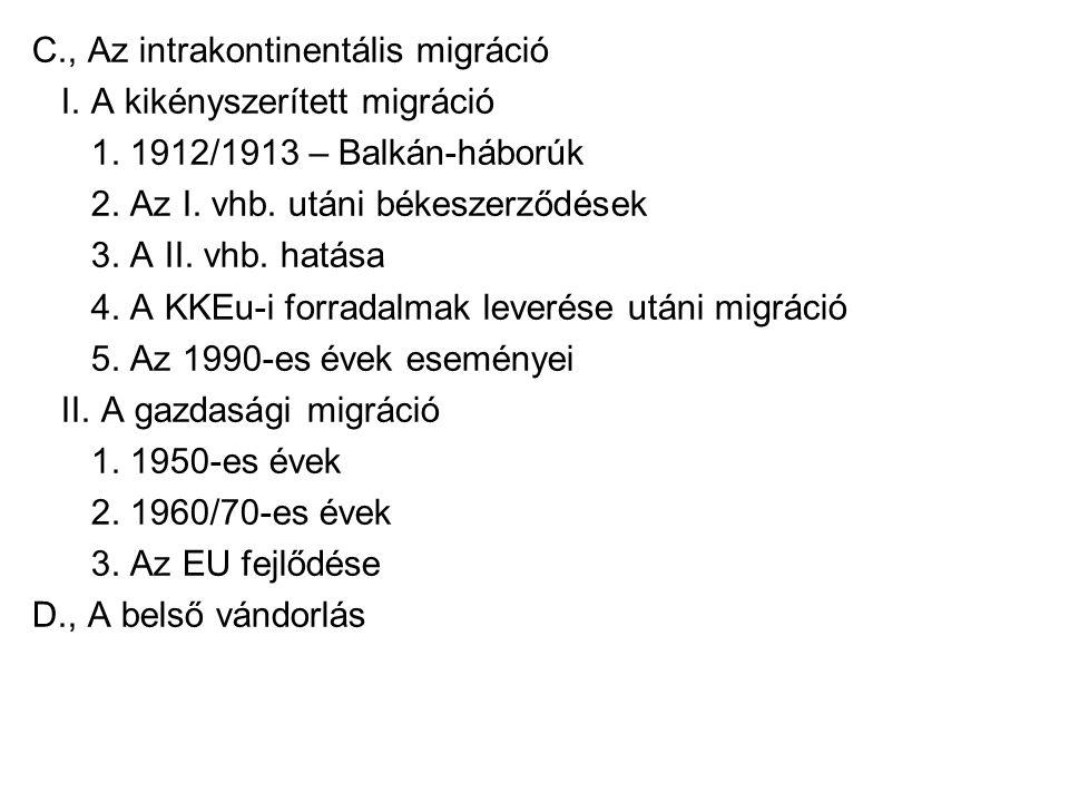 C., Az intrakontinentális migráció I. A kikényszerített migráció 1. 1912/1913 – Balkán-háborúk 2. Az I. vhb. utáni békeszerződések 3. A II. vhb. hatás