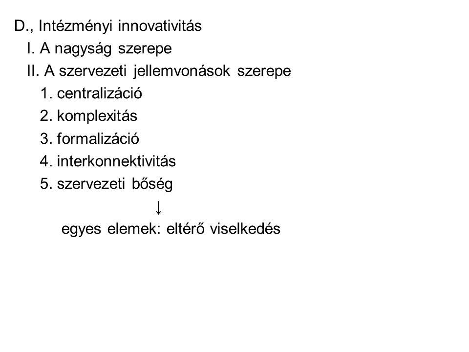 D., Intézményi innovativitás I.A nagyság szerepe II.