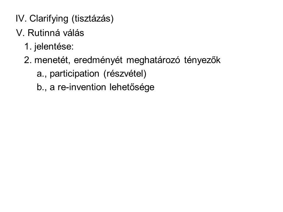 IV.Clarifying (tisztázás) V. Rutinná válás 1. jelentése: 2.