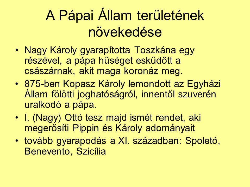 Nagy Károly gyarapította Toszkána egy részével, a pápa hűséget esküdött a császárnak, akit maga koronáz meg. 875-ben Kopasz Károly lemondott az Egyház