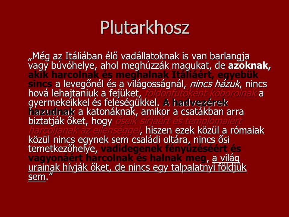 """Plutarkhosz """"Még az Itáliában élő vadállatoknak is van barlangja vagy búvóhelye, ahol meghúzzák magukat, de azoknak, a levegőnél és a világosságnál, n"""
