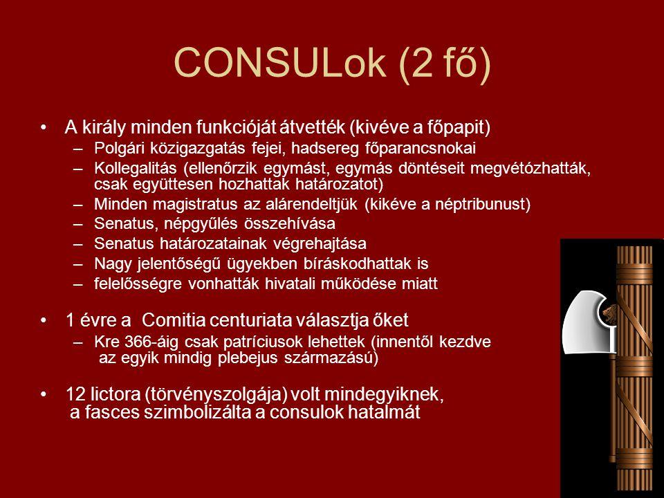 CONSULok (2 fő) A király minden funkcióját átvették (kivéve a főpapit) –Polgári közigazgatás fejei, hadsereg főparancsnokai –Kollegalitás (ellenőrzik