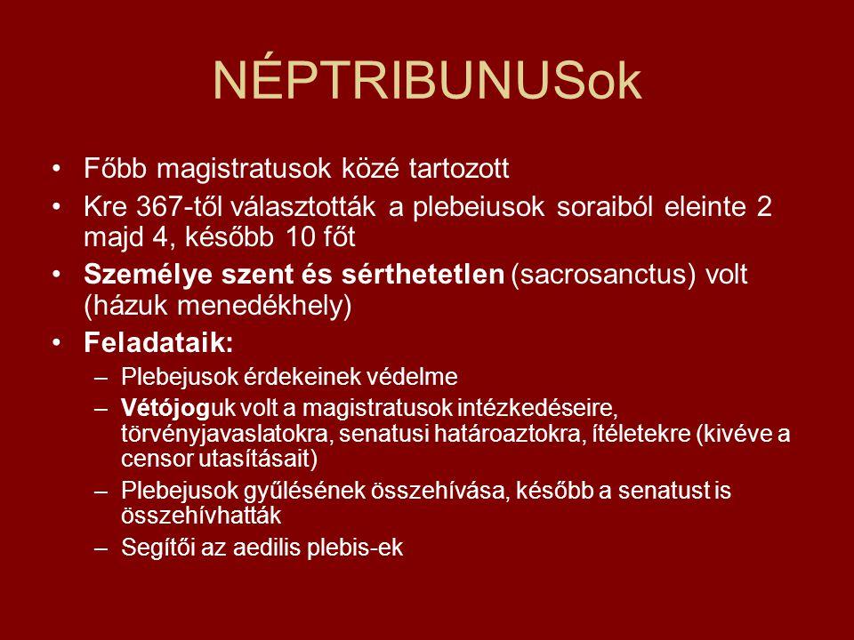 NÉPTRIBUNUSok Főbb magistratusok közé tartozott Kre 367-től választották a plebeiusok soraiból eleinte 2 majd 4, később 10 főt Személye szent és sérth