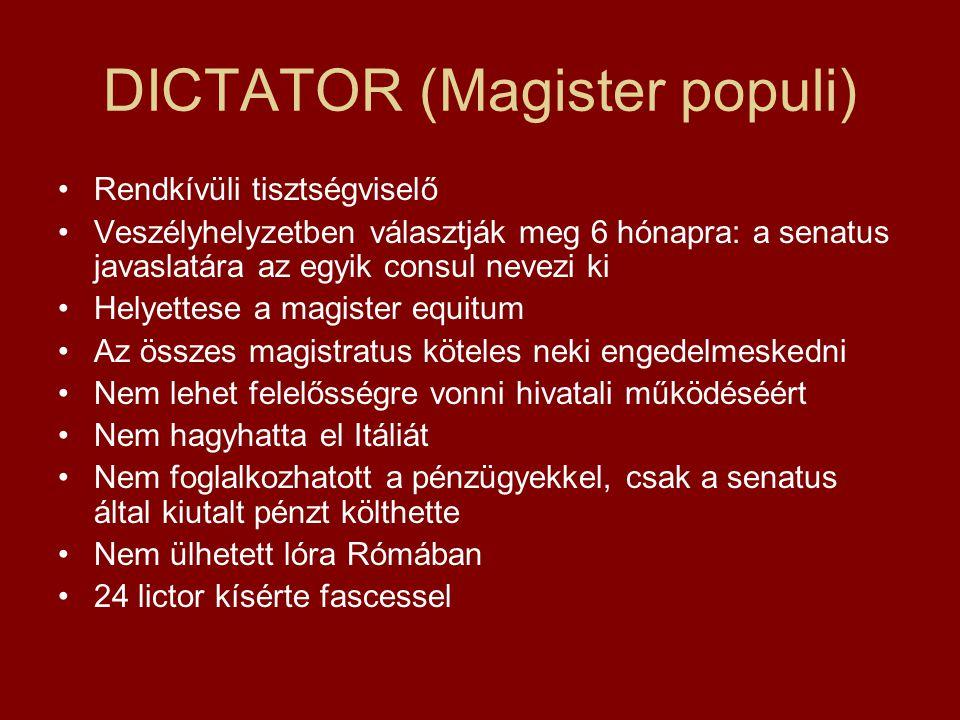 DICTATOR (Magister populi) Rendkívüli tisztségviselő Veszélyhelyzetben választják meg 6 hónapra: a senatus javaslatára az egyik consul nevezi ki Helye