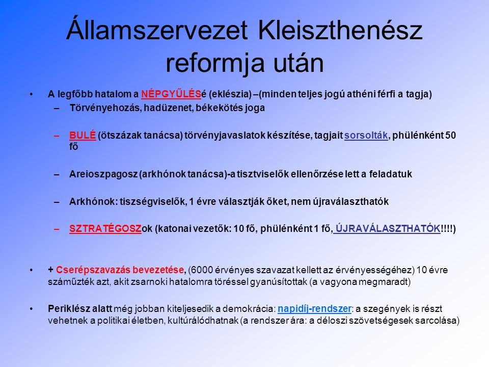 Államszervezet Kleiszthenész reformja után A legfőbb hatalom a NÉPGYŰLÉSé (eklészia) –(minden teljes jogú athéni férfi a tagja) –Törvényehozás, hadüze