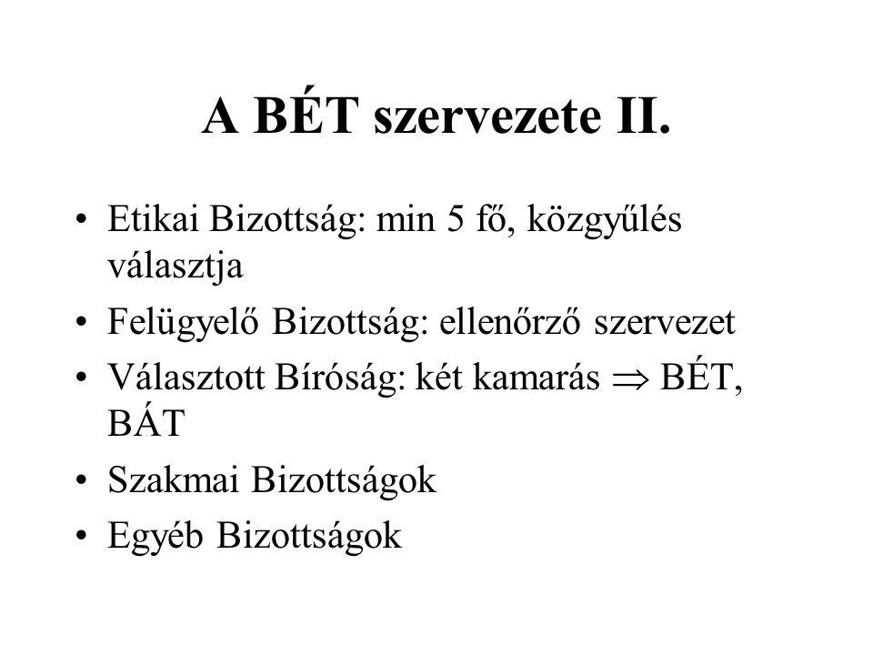 A BÉT szervezete II.