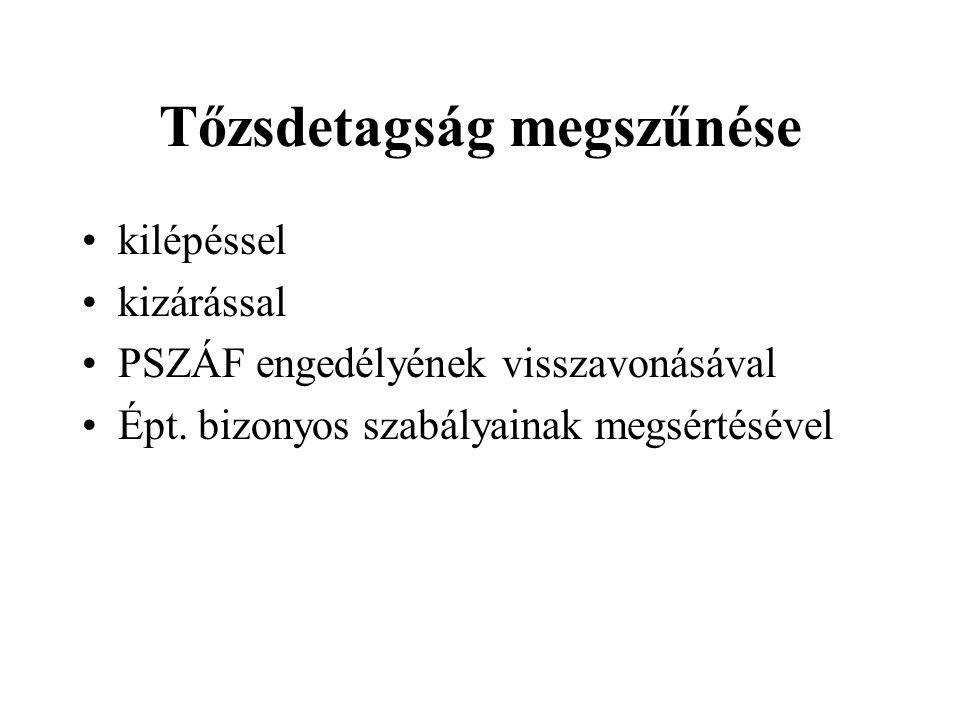 Tőzsdetagság megszűnése kilépéssel kizárással PSZÁF engedélyének visszavonásával Épt.