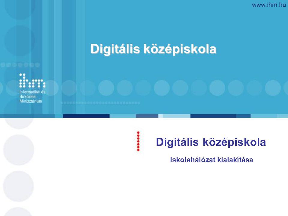 Digitális középiskola www.ihm.hu Digitális középiskola Iskolahálózat kialakítása