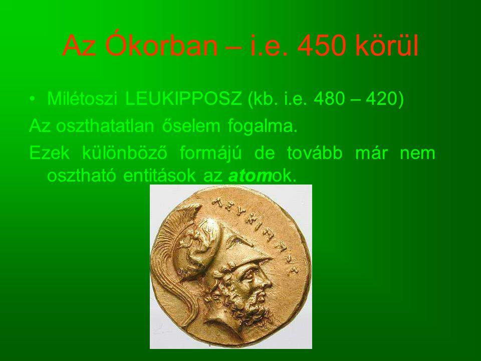 Az Ókorban – i.e. 450 körül Milétoszi LEUKIPPOSZ (kb. i.e. 480 – 420) Az oszthatatlan őselem fogalma. Ezek különböző formájú de tovább már nem oszthat
