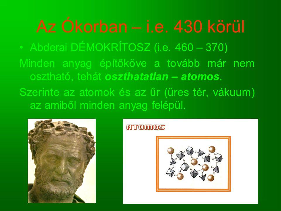 Az Ókorban – i.e. 430 körül Abderai DÉMOKRÍTOSZ (i.e. 460 – 370) Minden anyag építőköve a tovább már nem osztható, tehát oszthatatlan – atomos. Szerin