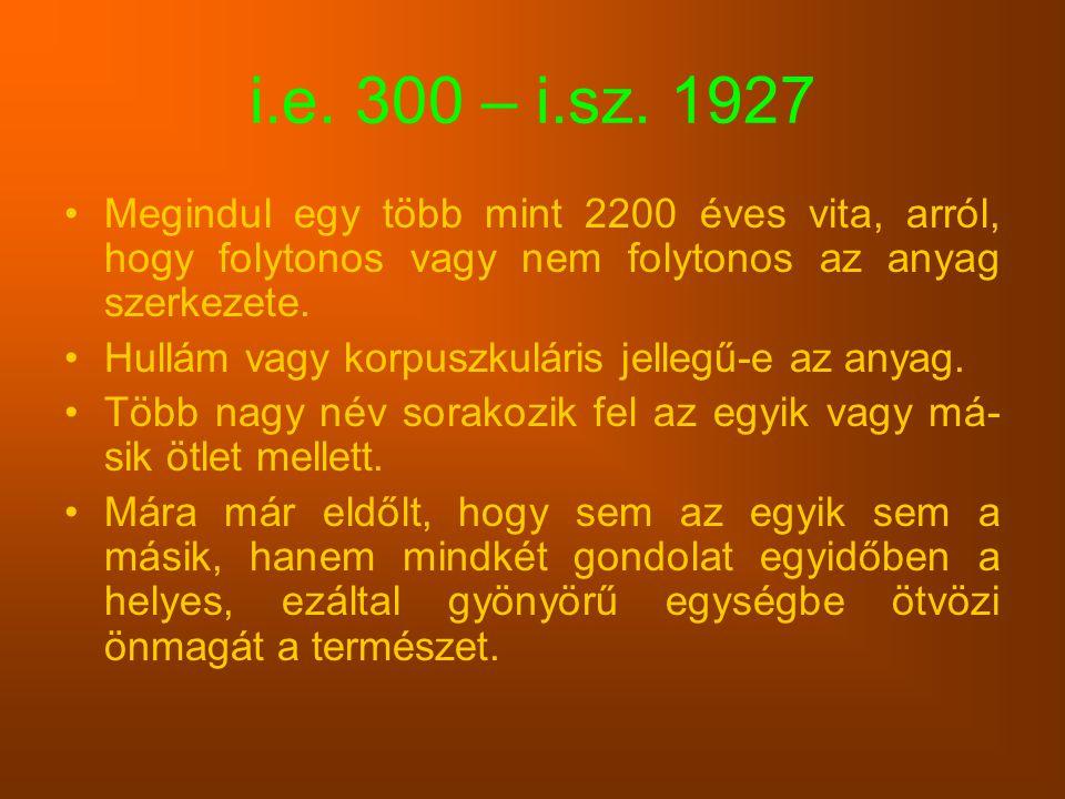 i.e. 300 – i.sz. 1927 Megindul egy több mint 2200 éves vita, arról, hogy folytonos vagy nem folytonos az anyag szerkezete. Hullám vagy korpuszkuláris