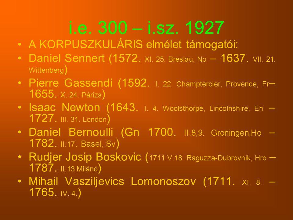 i.e. 300 – i.sz. 1927 A KORPUSZKULÁRIS elmélet támogatói: Daniel Sennert (1572. XI. 25. Breslau, No – 1637. VII. 21. Wittenberg ) Pierre Gassendi (159