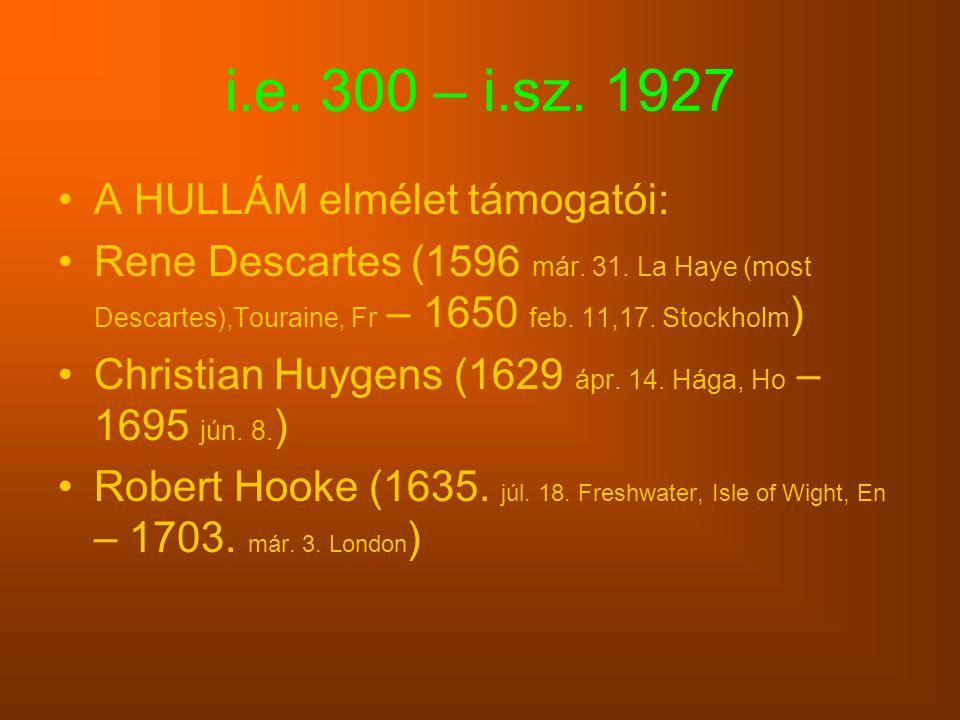 i.e. 300 – i.sz. 1927 A HULLÁM elmélet támogatói: Rene Descartes (1596 már. 31. La Haye (most Descartes),Touraine, Fr – 1650 feb. 11,17. Stockholm ) C