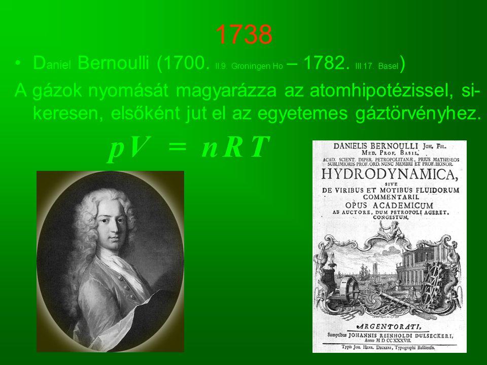 1738 D aniel Bernoulli (1700. II.9. Groningen Ho – 1782. III.17. Basel ) A gázok nyomását magyarázza az atomhipotézissel, si- keresen, elsőként jut el