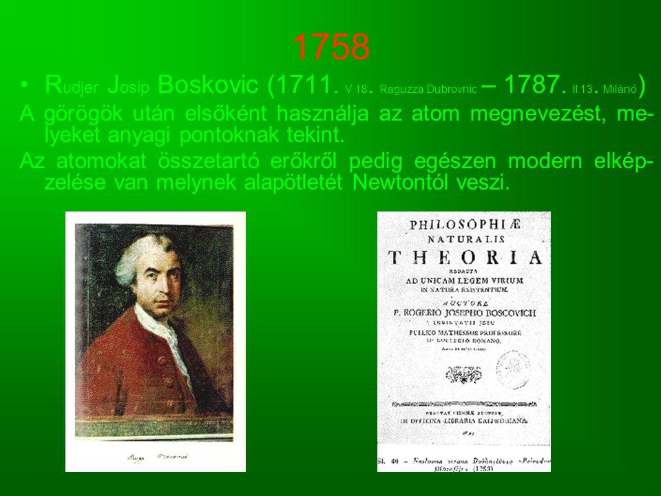 1758 R udjer J osip Boskovic (1711. V.18. Raguzza Dubrovnic – 1787. II.13. Milánó ) A görögök után elsőként használja az atom megnevezést, me- lyeket