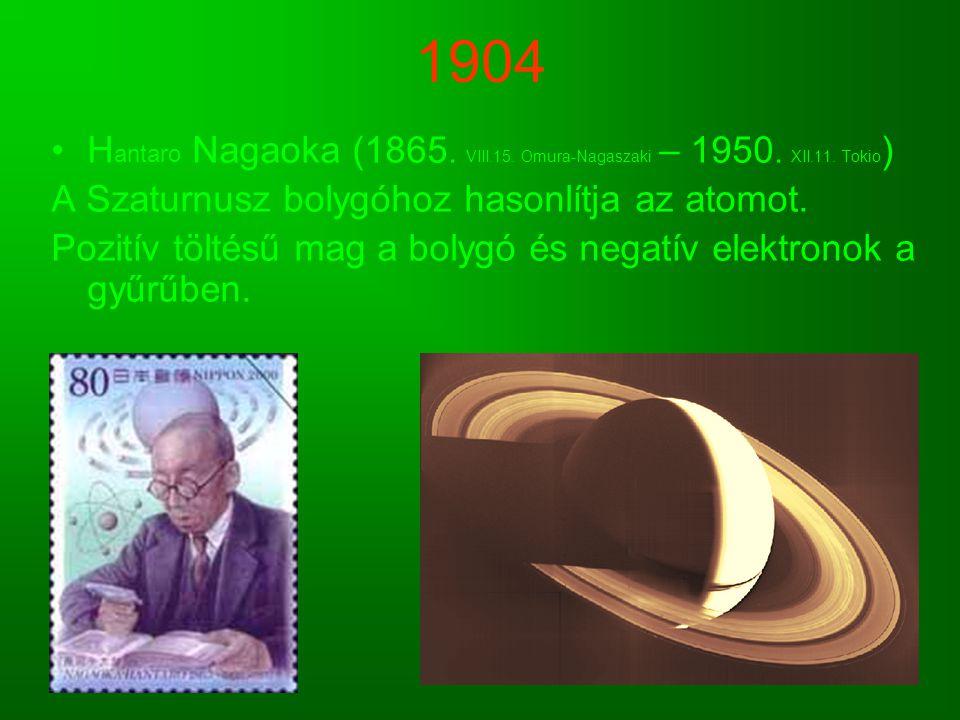 1904 H antaro Nagaoka (1865. VIII.15. Omura-Nagaszaki – 1950. XII.11. Tokio ) A Szaturnusz bolygóhoz hasonlítja az atomot. Pozitív töltésű mag a bolyg