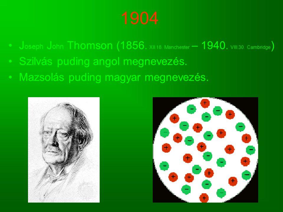 1904 J oseph J ohn Thomson (1856. XII.18. Manchester – 1940. VIII.30. Cambridge ) Szilvás puding angol megnevezés. Mazsolás puding magyar megnevezés.