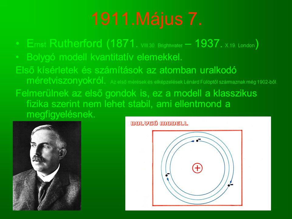 1911.Május 7. E rnst Rutherford (1871. VIII.30. Brightwater – 1937. X.19. London ) Bolygó modell kvantitatív elemekkel. Első kísérletek és számítások