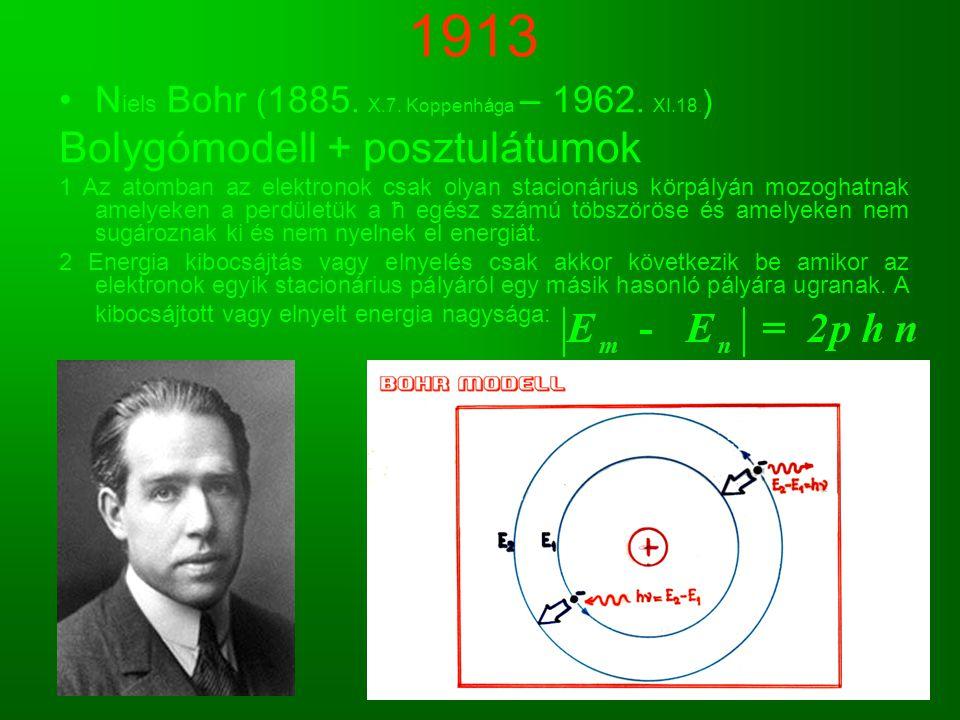 1913 N iels Bohr ( 1885. X.7. Koppenhága – 1962. XI.18. ) Bolygómodell + posztulátumok 1 Az atomban az elektronok csak olyan stacionárius körpályán mo