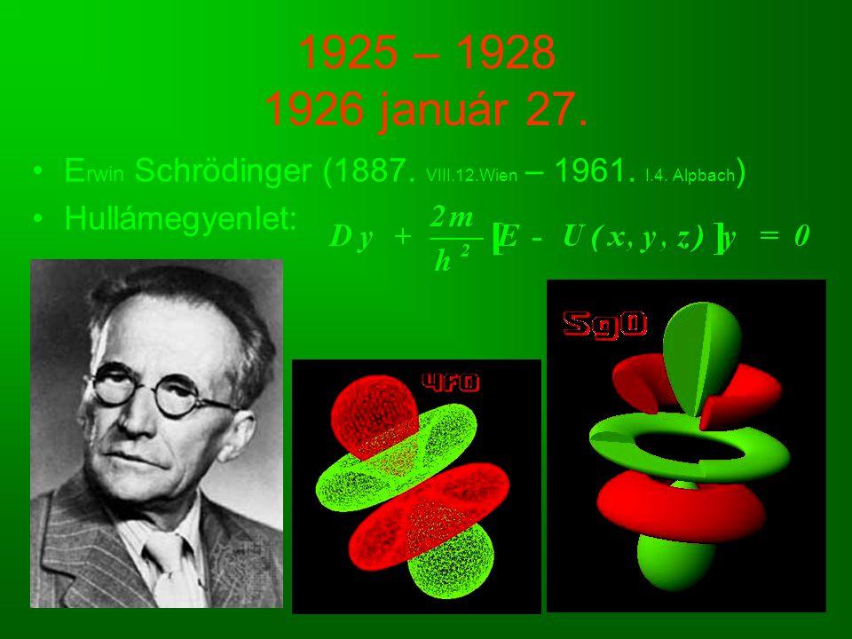 1925 – 1928 1926 január 27. E rwin Schrödinger (1887. VIII.12.Wien – 1961. I.4. Alpbach ) Hullámegyenlet: