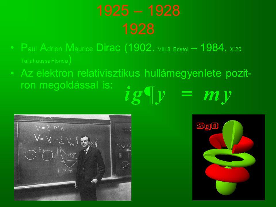 1925 – 1928 1928 P aul A drien M aurice Dirac (1902. VIII.8. Bristol – 1984. X.20. Tallahausse Florida ) Az elektron relativisztikus hullámegyenlete p