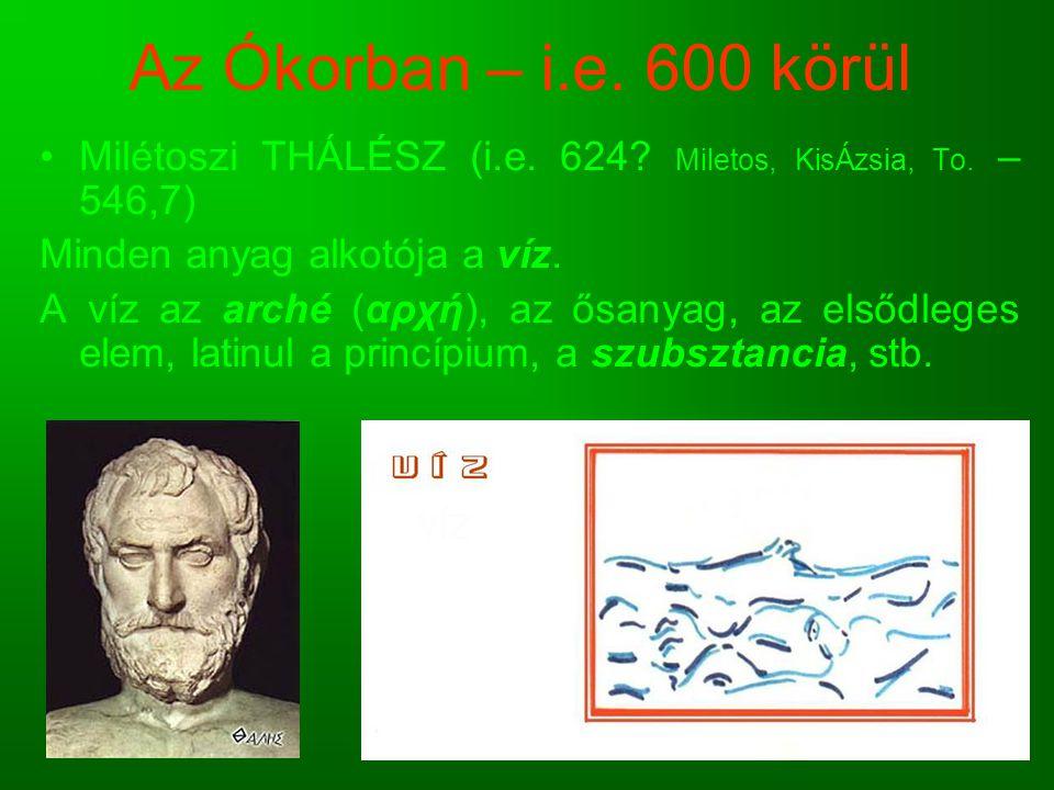 Az Ókorban – i.e. 600 körül Milétoszi THÁLÉSZ (i.e. 624? Miletos, KisÁzsia, To. – 546,7) Minden anyag alkotója a víz. A víz az arché (αρχή), az ősanya