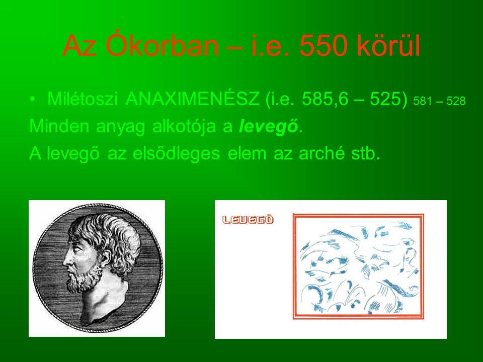 Az Ókorban – i.e. 550 körül Milétoszi ANAXIMENÉSZ (i.e. 585,6 – 525) 581 – 528 Minden anyag alkotója a levegő. A levegő az elsődleges elem az arché st