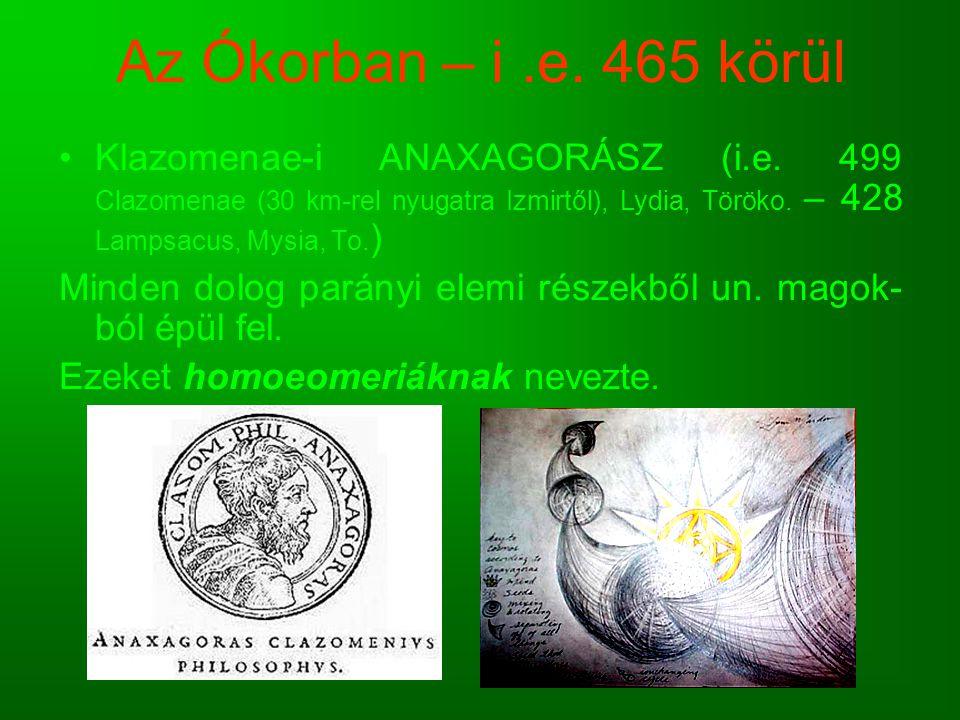 Az Ókorban – i.e. 465 körül Klazomenae-i ANAXAGORÁSZ (i.e. 499 Clazomenae (30 km-rel nyugatra Izmirtől), Lydia, Töröko. – 428 Lampsacus, Mysia, To. )