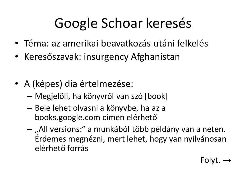 Google Schoar keresés Téma: az amerikai beavatkozás utáni felkelés Keresőszavak: insurgency Afghanistan A (képes) dia értelmezése: – Megjelöli, ha kön