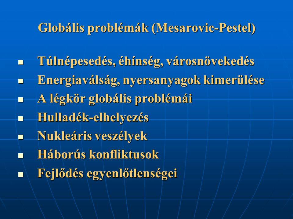 Globális problémák (Mesarovic-Pestel) Túlnépesedés, éhínség, városnövekedés Túlnépesedés, éhínség, városnövekedés Energiaválság, nyersanyagok kimerülé