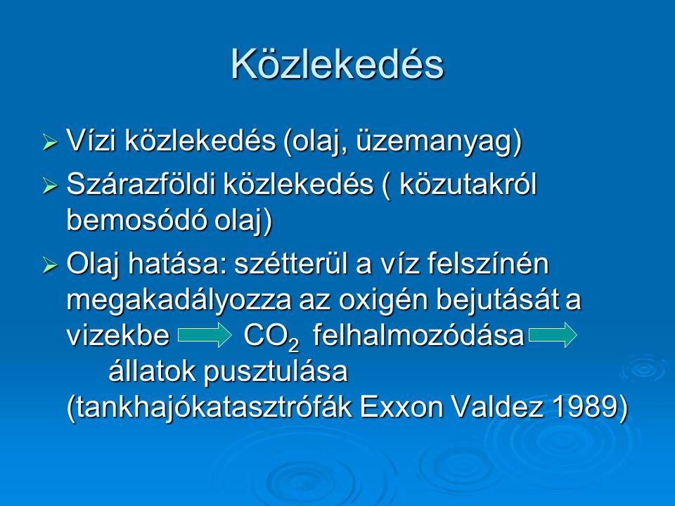 Közlekedés  Vízi közlekedés (olaj, üzemanyag)  Szárazföldi közlekedés ( közutakról bemosódó olaj)  Olaj hatása: szétterül a víz felszínén megakadál