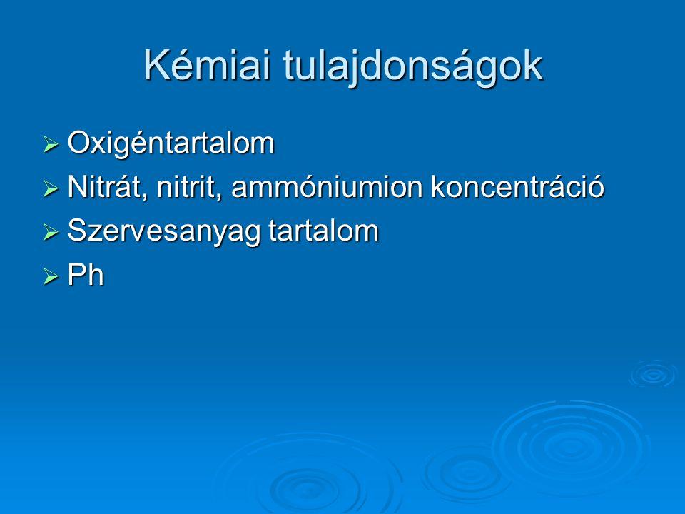 Kémiai tulajdonságok  Oxigéntartalom  Nitrát, nitrit, ammóniumion koncentráció  Szervesanyag tartalom  Ph