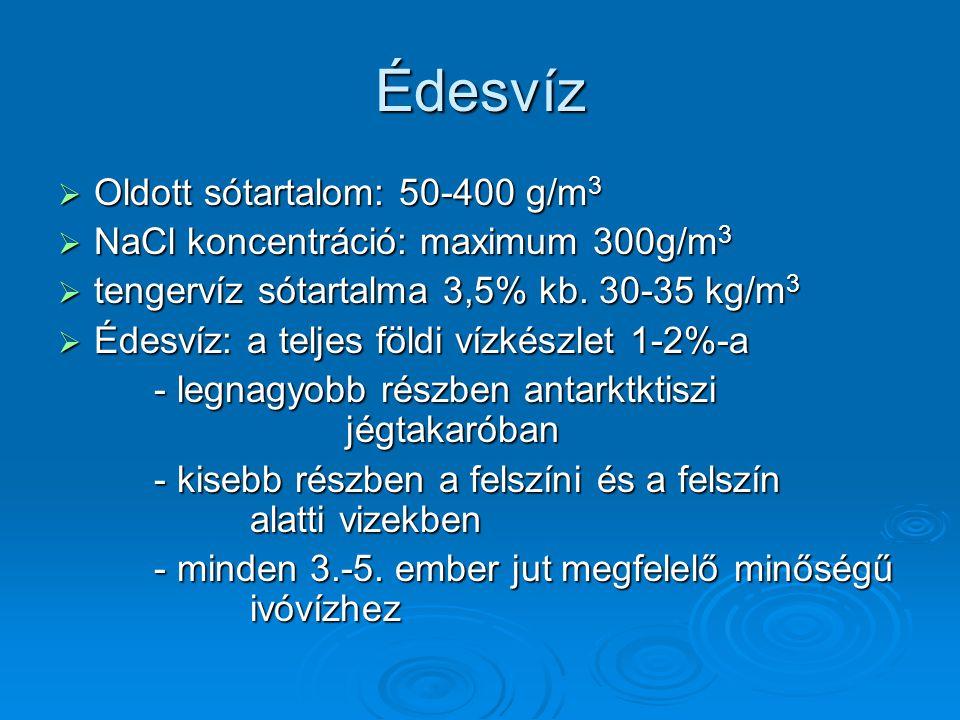 Édesvíz  Oldott sótartalom: 50-400 g/m 3  NaCl koncentráció: maximum 300g/m 3  tengervíz sótartalma 3,5% kb. 30-35 kg/m 3  Édesvíz: a teljes földi