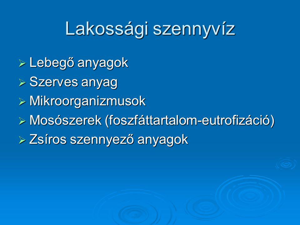 Lakossági szennyvíz  Lebegő anyagok  Szerves anyag  Mikroorganizmusok  Mosószerek (foszfáttartalom-eutrofizáció)  Zsíros szennyező anyagok