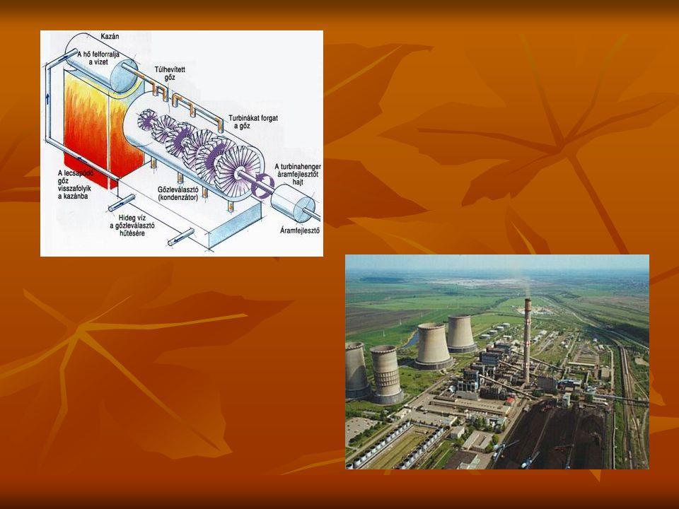Atomerőművek Előny: olcsó és nagy mennyiségű villamos energia Előny: olcsó és nagy mennyiségű villamos energia Hátrány: biztonságtechnikai kérdések, radioaktív hulladékok elhelyezésének problémája Hátrány: biztonságtechnikai kérdések, radioaktív hulladékok elhelyezésének problémája