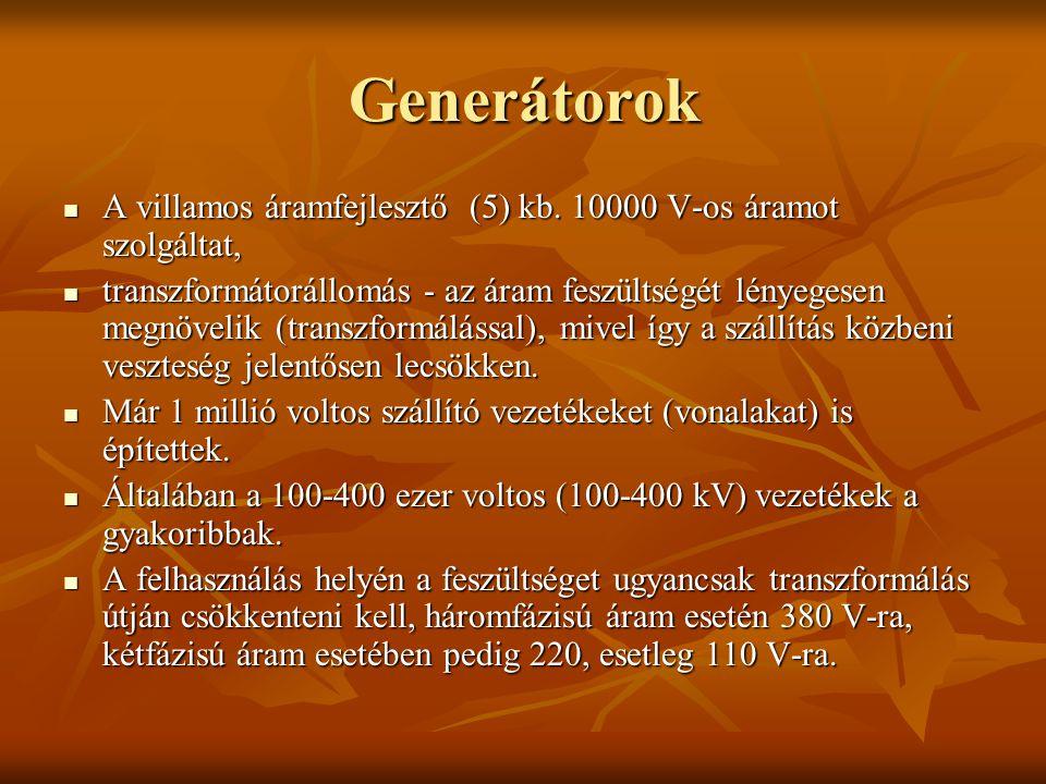 Generátorok A villamos áramfejlesztő (5) kb. 10000 V-os áramot szolgáltat, A villamos áramfejlesztő (5) kb. 10000 V-os áramot szolgáltat, transzformát