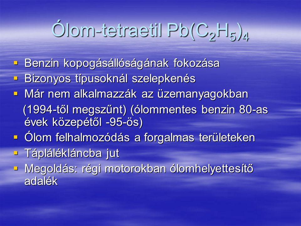 Ólom-tetraetil Pb(C 2 H 5 ) 4  Benzin kopogásállóságának fokozása  Bizonyos típusoknál szelepkenés  Már nem alkalmazzák az üzemanyagokban (1994-től