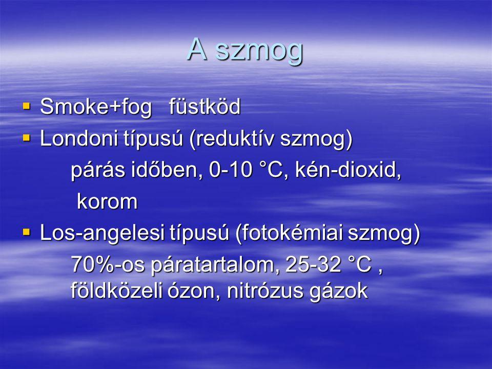 A szmog  Smoke+fogfüstköd  Londoni típusú (reduktív szmog) párás időben, 0-10 °C, kén-dioxid, párás időben, 0-10 °C, kén-dioxid, korom korom  Los-a