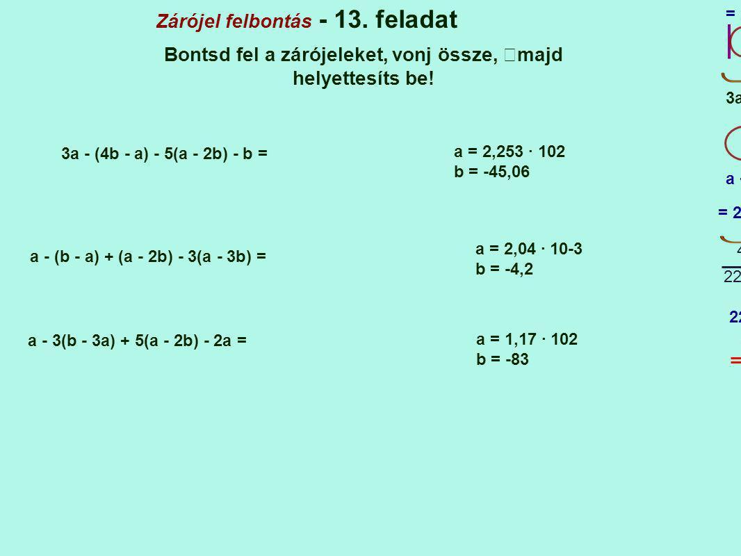 Zárójel felbontás - 13. feladat Bontsd fel a zárójeleket, vonj össze, majd helyettesíts be! 3a - (4b - a) - 5(a - 2b) - b = 1 a = 2,253 · 102 b = -45,